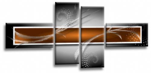 Abstract Canvas Wall Art Print Orange Grey White Picture